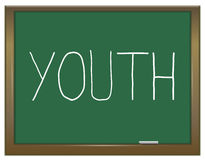 Youth concept. Illustration depicting a green chalkboard with a youth concept Stock Images