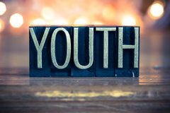 Youth Concept Metal Letterpress Type Stock Images