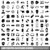100 youth culture icons set, simple style. 100 youth culture icons set in simple style for any design vector illustration royalty free illustration