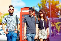 Youth culture relation, friends on the street Royalty Free Stock Photography