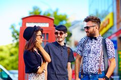 Youth culture relation, friends on the street Royalty Free Stock Photos