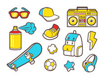 Youth culture symbols. Vector line icons. Youth culture symbols - headphones, sneakers shoes, backpack and sunglasses. Urban lifestyle flat line icons - boombox Stock Images