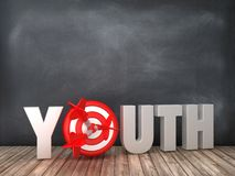 YOUTH 3D Word with Target on Chalkboard Background. High Quality 3D Rendering vector illustration