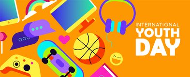 Youth Day banner of fun teen activity icons Royalty Free Stock Photos