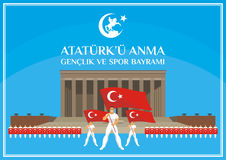 Youth day banner. Translation from Turkish: May 19, Ataturk Memorial day, holiday of youth and sport.  A vector illustration by a public holiday of Turkey Stock Photo