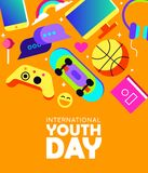 Youth Day card of fun teen activity icons Stock Photos