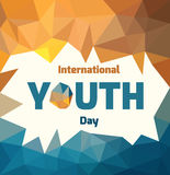 Youth day. International Youth Day polygonal banner. Bright flyer template. Vector image Stock Photo