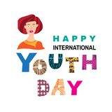 Youth day1. International Youth day,12 August, Hand Drawn lettering Vector illustration in cartoon style Royalty Free Illustration