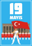 Youth day poster. May 19, Ataturk Memorial day, holiday of youth and sport. A vector illustration by a public holiday of Turkey Stock Photo