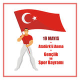 Youth day Turkey. Translation from Turkish: May 19, Ataturk Memorial day, holiday of youth and sport.  A vector illustration by a public holiday of Turkey Stock Photography