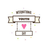 Youth day. Vector illustration. International youth day. Vector illustration. Banner with text Stock Image