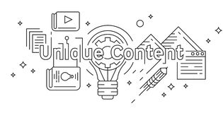 Unique Content Concept Flat Line Design. Youth Doodle Style Geometric in Black and White. Banner, Background, or Landing Page Desi stock illustration
