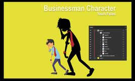 Youth Failed Businessman character vector illustration