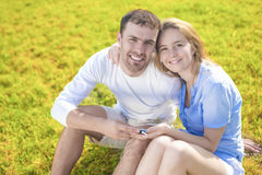 Youth and Family Concepts:Happy Young Caucasian Couple Closeup p Royalty Free Stock Photo