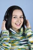 Youth female enjoy music stock images