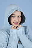 Youth female in hood wool Royalty Free Stock Photography