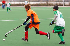 Youth field hockey competition. Russian youth championship 2015 field hockey. October 5, 2015. Team of Ekaterinburg vs team of Rostov region royalty free stock photos