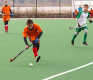 Youth field hockey competition. Russian youth championship 2015 field hockey. October 5, 2015. Team of Ekaterinburg vs team of Rostov region royalty free stock photography