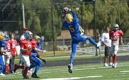 Youth Football Interception royalty free stock images