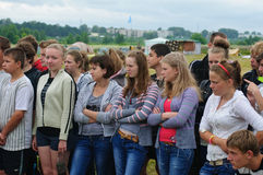 Youth Forum Commonwealth. Was held in summer 2012 on the banks of the River Volga, Kimrsky District, Tver Region, with the participation of representatives of Royalty Free Stock Photo