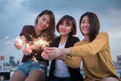 Youth friendship new year party concept. Group of friends having stock photos