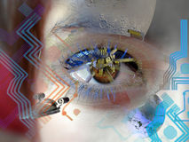 Youth for the future. Close view to a young girl's eye looking at a futuristic spaceship and a space station  above the Earth, with a  a technologic circuit Stock Photo