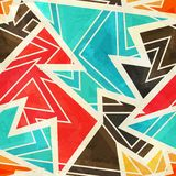Youth geometric seamless pattern with grunge effect. (eps 10 Stock Illustration
