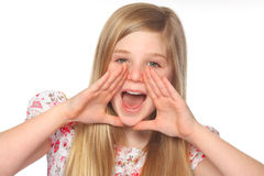 Youth girl shouting out loud Royalty Free Stock Images