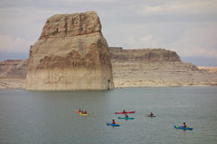 A youth group kayaking in the desert on labor day weekend Stock Images