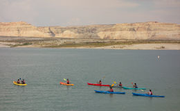 A youth group kayaking in the desert on labor day weekend Royalty Free Stock Photography