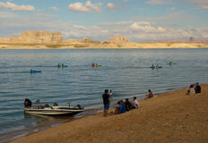 A youth group kayaking in the desert on labor day weekend Stock Photo