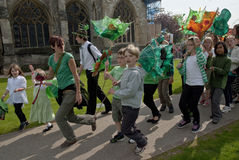 Youth group performs on Exeter Cathedral Green Stock Photography
