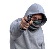 Youth Gun Crime. Youth with hoody pointing handgun isolated on white Stock Photo
