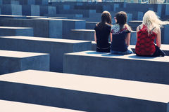 Youth at the Holocaust Memorial in Berlin Royalty Free Stock Photography
