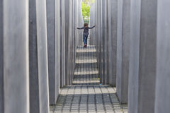 Youth at the Holocaust Memorial in Berlin Royalty Free Stock Images