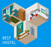 Youth hostel building facade, backpack, double decker bunk bed, room key Travel and tourism business themed items Royalty Free Stock Image