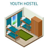 Youth hostel building facade, backpack, double decker bunk bed, room key Travel and tourism business themed items. Isometric hostel room Royalty Free Stock Photography