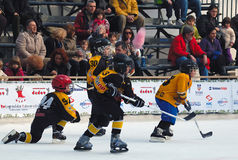 Youth ice hockey players in action. BELGRADE-JANUARY 8.NEW YEAR'S ICE HOCKEY TOURNAMENT FOR CHILDREN AGED EIGHT YEARS.Youth ice hockey players in action.JANUARY Stock Image