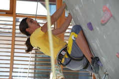 Youth indoor climbing Stock Image