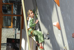 Youth indoor climbing Stock Images