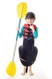 Youth Kayaker. Youth kayak paddler portrait in the studio royalty free stock photo