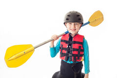 Youth Kayaker. Youth kayak paddler portrait in the studio Stock Photography