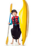 Youth Kayaker with boat Royalty Free Stock Photo