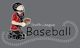 Youth League baseball logo. Youth or little league logo text with child in catcher position holding a baseball.  Colorful with decorative stitching wrapping Stock Photos