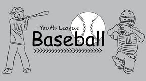 Youth League Baseball Logo Royalty Free Stock Images
