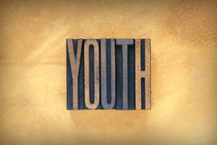 Youth Letterpress. The word YOUTH written in vintage letterpress type Royalty Free Stock Images