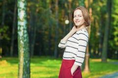 Youth Lifestyle Concept: Portrait of Smiling Caucasian Brunette Stock Photos