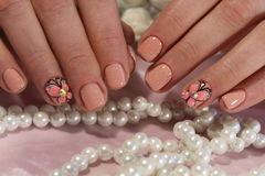Youth manicure with butterfly. Here is presented one of the best manicure designs this year& x27;s Nail stock photography