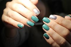 Youth manicure design. Best nails, gel varnish Stock Photo