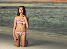 Youth multiracial teen at the beach Royalty Free Stock Photography